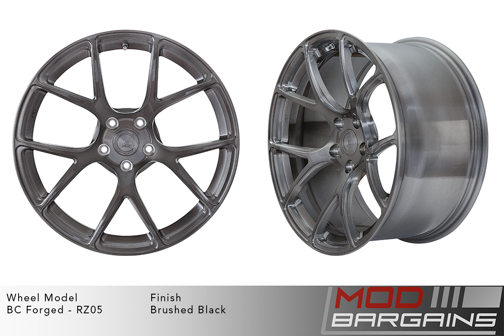 BC Forged RZ05 Monoblock Forged Aluminum Split 5 V Spoke Concave Wheels Brushed Black Gunmetal Modbargains