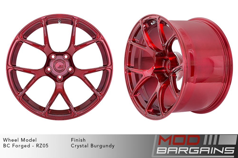 BC Forged RZ05 Monoblock Forged Aluminum Split 5 V Spoke Concave Wheels Brushed Red Crystal Burgundy Modbargains