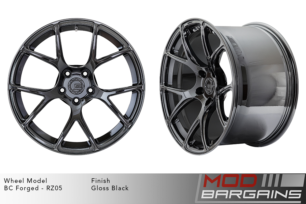 BC Forged RZ05 Monoblock Forged Aluminum Split 5 V Spoke Concave Wheels Gloss Black Modbargains