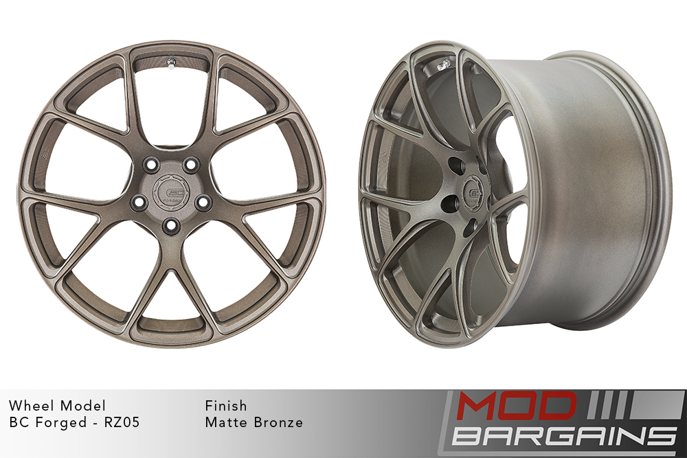 BC Forged RZ05 Monoblock Forged Aluminum Split 5 V Spoke Concave Wheels Matte Bronze Modbargains