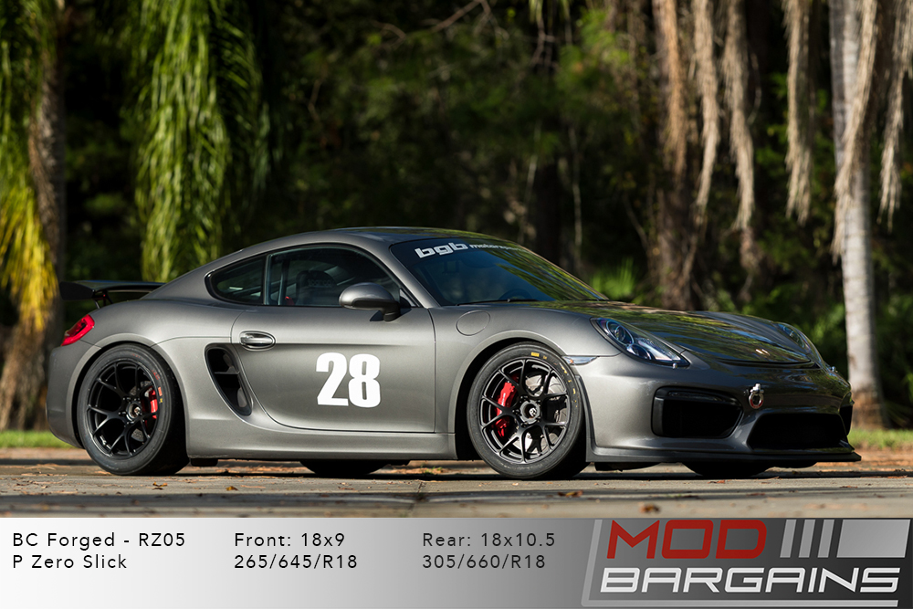 Porsche Cayman 982 BC Forged RZ05 Matte Black Wheels Modbargains