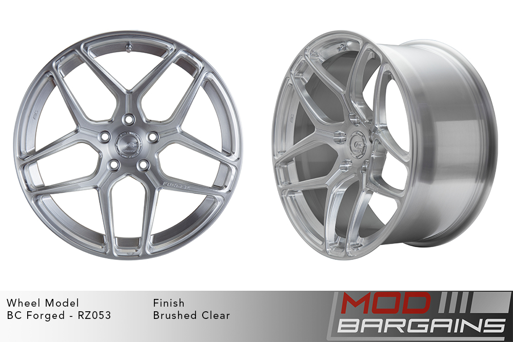 BC Forged RZ053 Monoblock Forged Aluminum Split 5 Spoke Concave Brushed Clear Silver Wheels Modbargains
