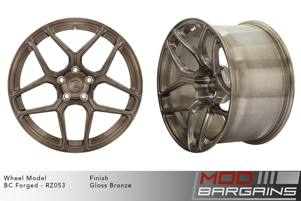 BC Forged RZ053 Monoblock Forged Aluminum Split 5 Spoke Concave Wheels Gloss Bronze Modbargains