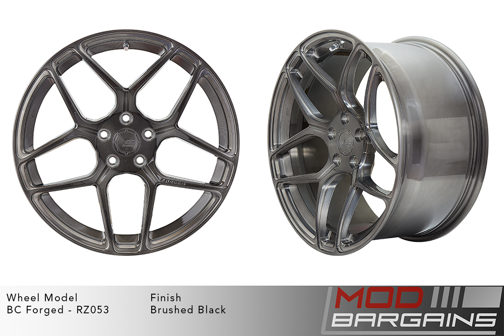 BC Forged RZ053 Monoblock Forged Aluminum Split 5 Spoke Concave Wheels Brushed Black Gunmetal Modbargains