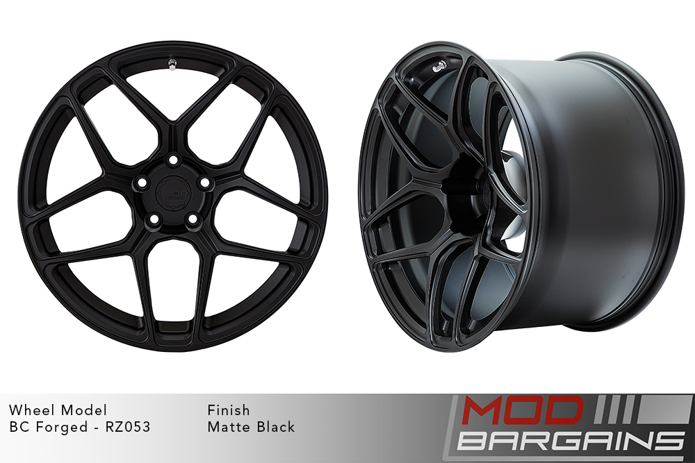 BC Forged RZ053 Monoblock Forged Aluminum Split 5 Spoke Concave Wheels Matte Black Modbargains