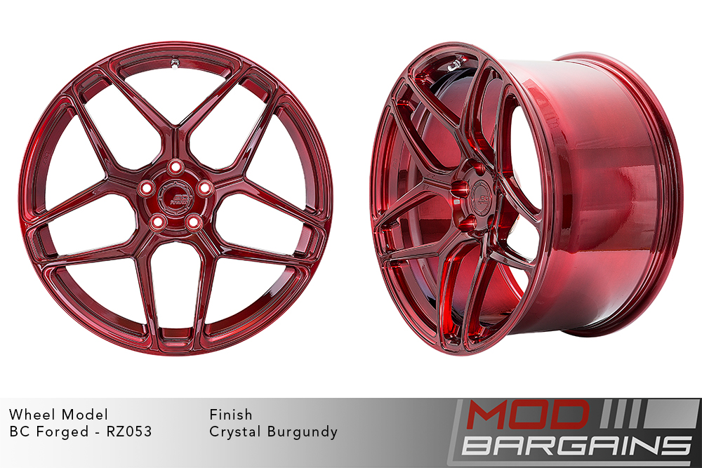BC Forged RZ053 Monoblock Forged Aluminum Split 5 Spoke Concave Wheels Brushed Red Crystal Burgundy Modbargains
