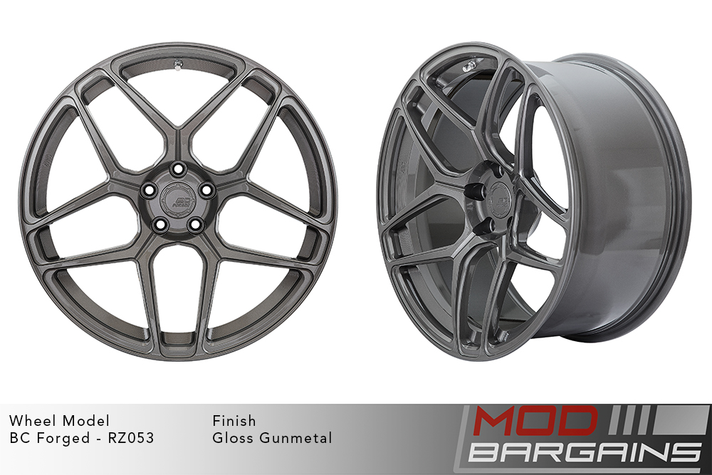 BC Forged RZ053 Monoblock Forged Aluminum Split 5 Spoke Concave Wheels Gloss Gunmetal Modbargains