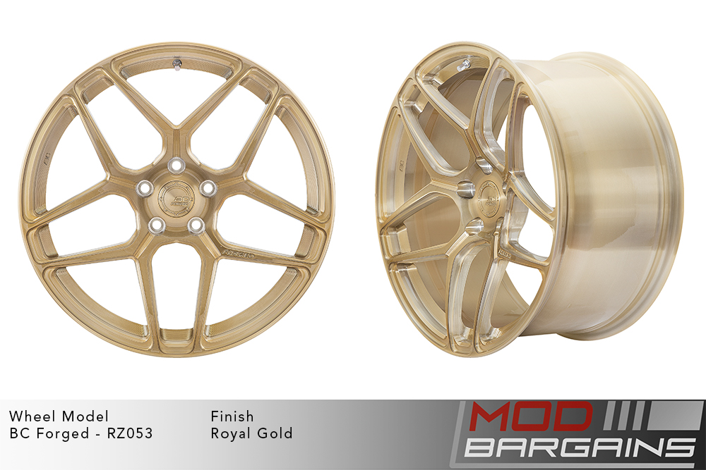 BC Forged RZ053 Monoblock Forged Aluminum Split 5 Spoke Concave Wheels Brushed Royal Gold Modbargains