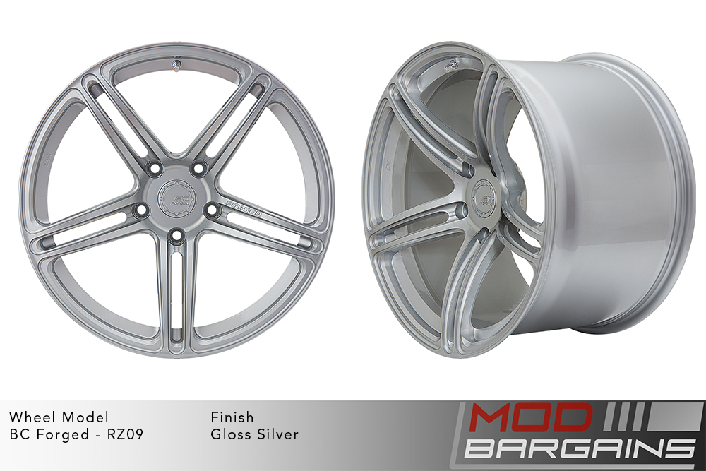 BC Forged RZ09 Monoblock Forged Aluminum Split 5 Spoke Concave Wheels Gloss Silver Modbargains