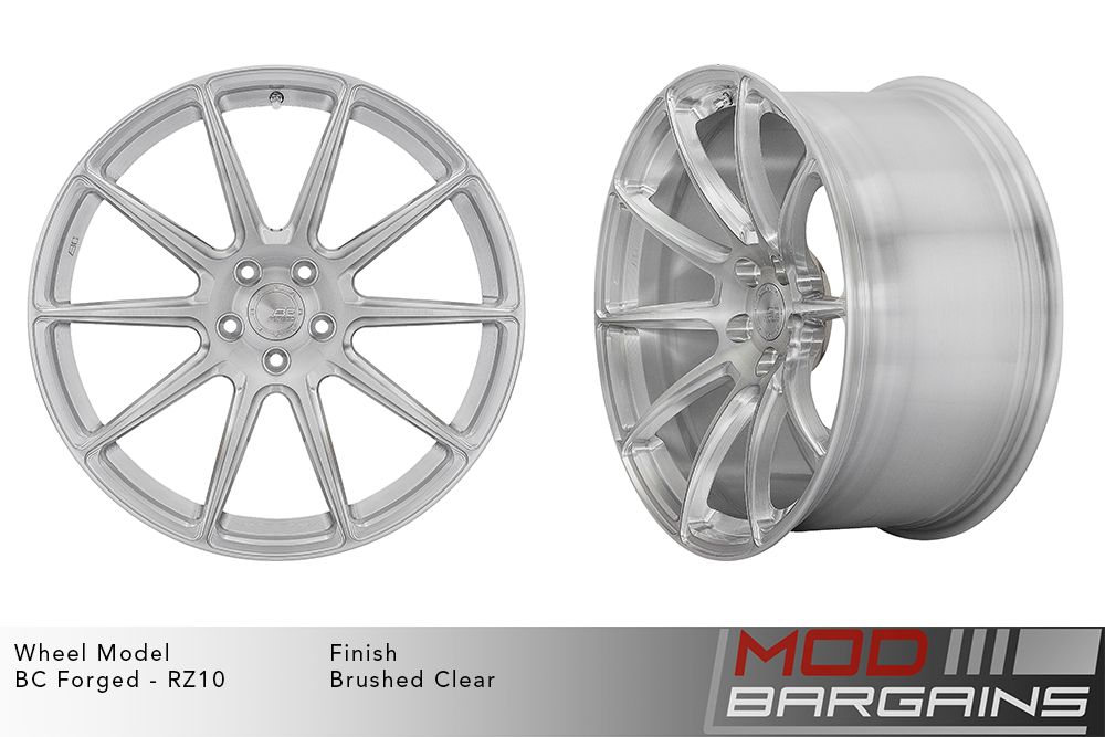 BC Forged RZ10 Monoblock Forged Aluminum 10 Spoke Concave Brushed Clear Silver Wheels Modbargains