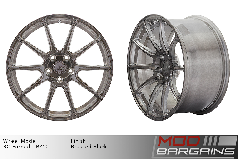 BC Forged RZ10 Monoblock Forged Aluminum 10 Spoke Concave Wheels Brushed Black Gunmetal Modbargains