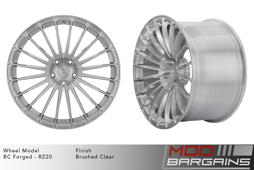 BC Forged RZ20 Monoblock Forged Aluminum 20 Spoke Concave Brushed Clear Silver Wheels Modbargains