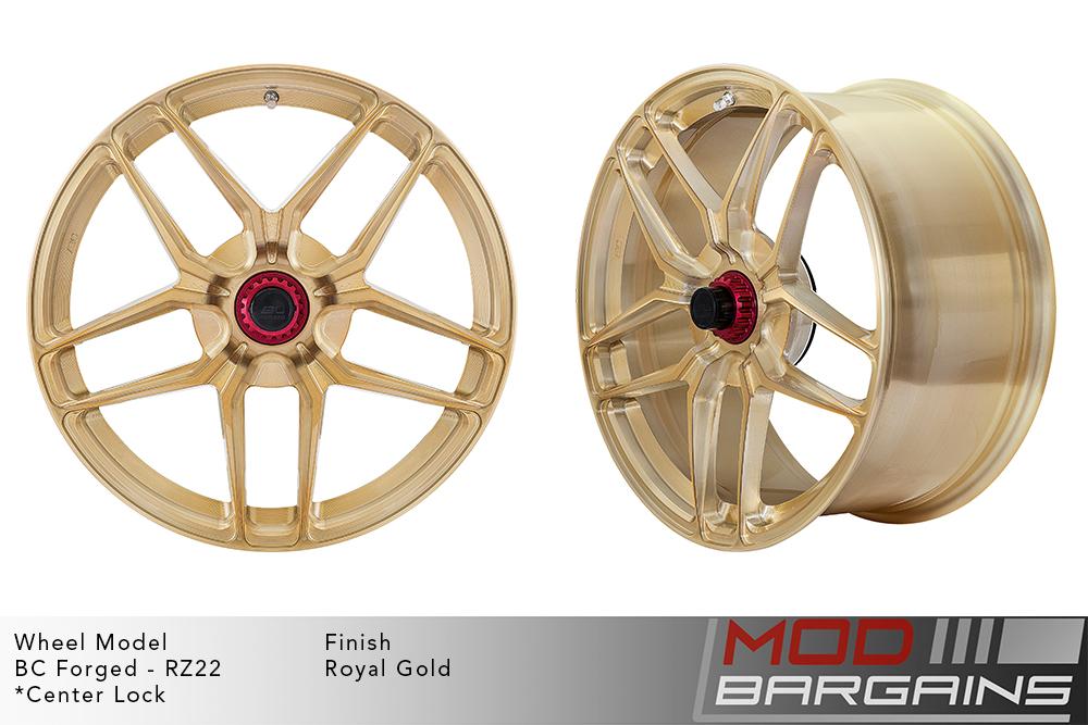 BC Forged RZ22 Monoblock Forged Aluminum Split 5 Spoke Concave Brushed Royal Gold Wheels Modbargains
