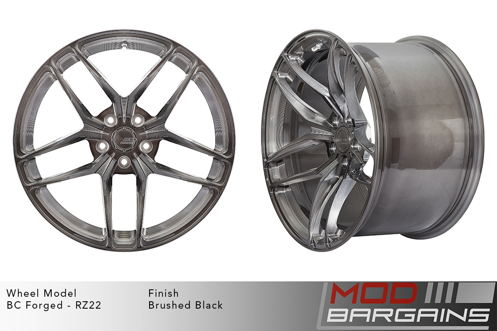 BC Forged RZ22 Monoblock Forged Aluminum Split 5 Spoke Concave Wheels Brushed Black Gunmetal Modbargains