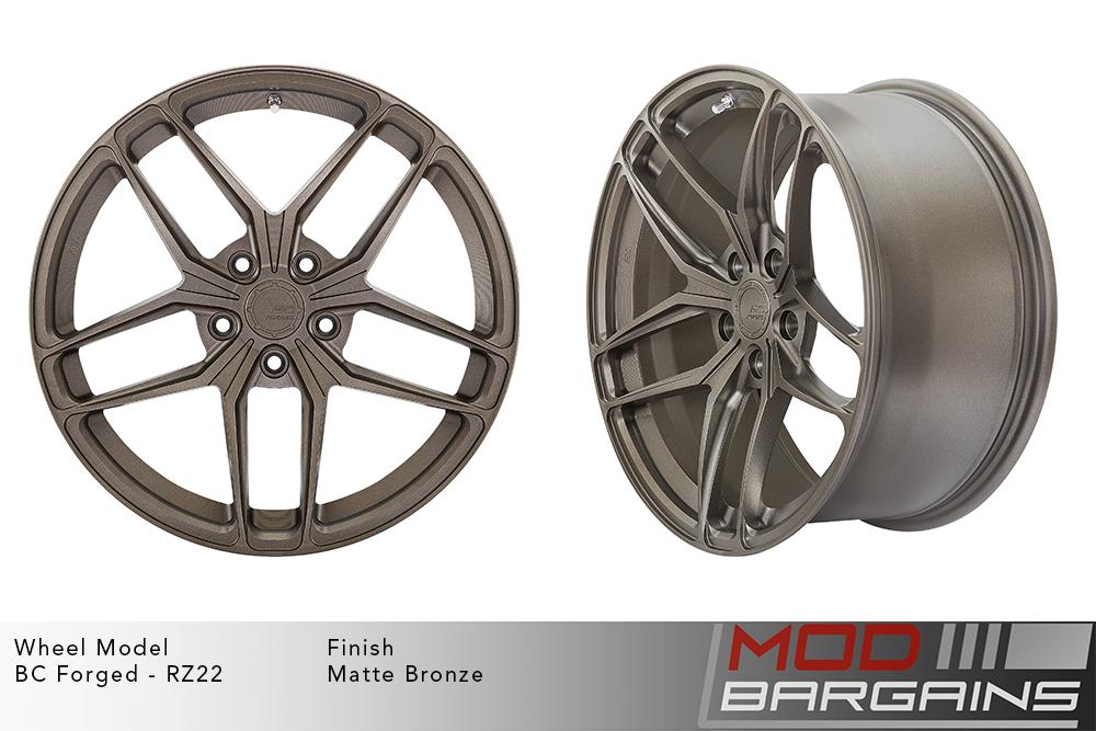 BC Forged RZ22 Monoblock Forged Aluminum Split 5 Spoke Concave Wheels Matte Bronze Modbargains