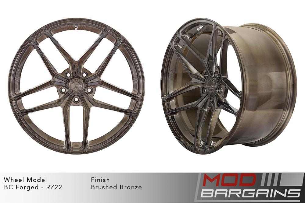 BC Forged RZ22 Monoblock Forged Aluminum Split 5 Spoke Concave Wheels Brushed Bronze Modbargains