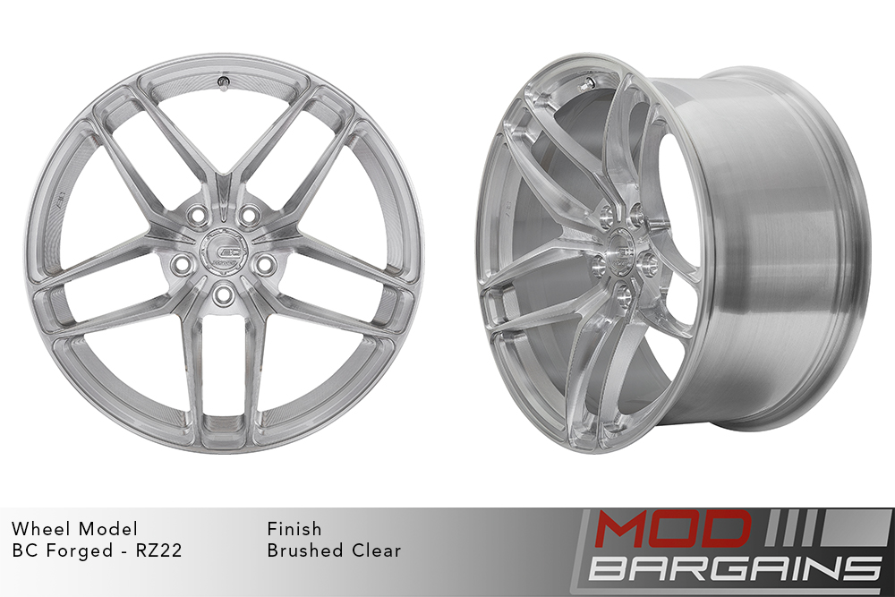 BC Forged RZ22 Monoblock Forged Aluminum Split 5 Spoke Concave Wheels Brushed Clear Silver Modbargains