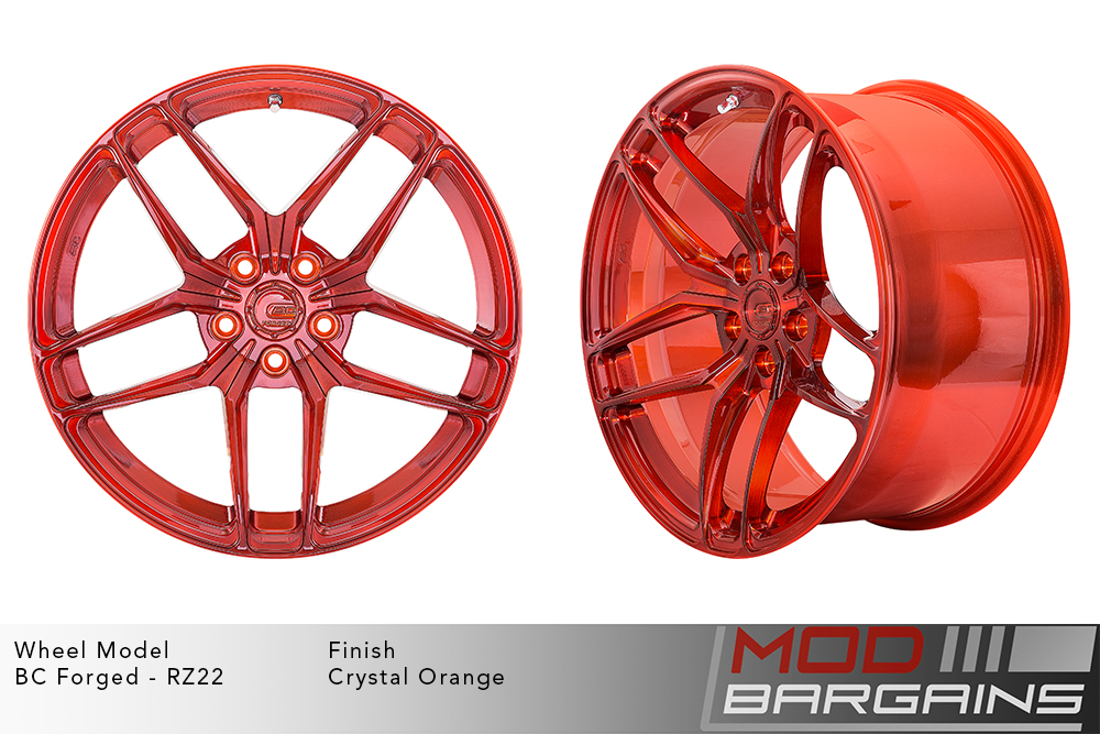 BC Forged RZ22 Monoblock Forged Aluminum Split 5 Spoke Concave Wheels Brushed Crystal Orange Modbargains