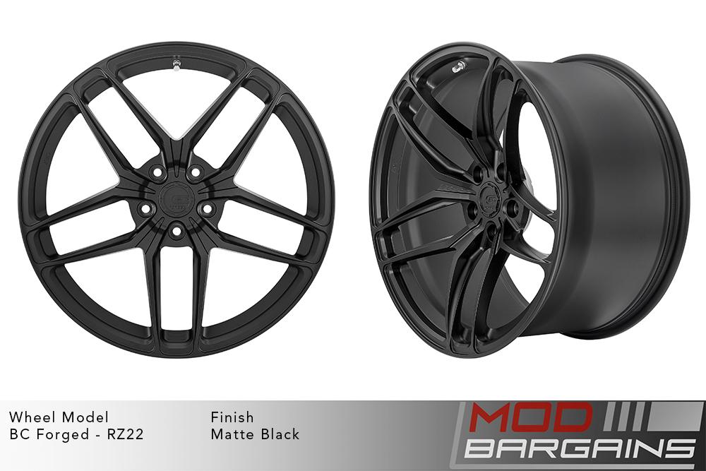 BC Forged RZ22 Monoblock Forged Aluminum Split 5 Spoke Concave Wheels Matte Black Modbargains