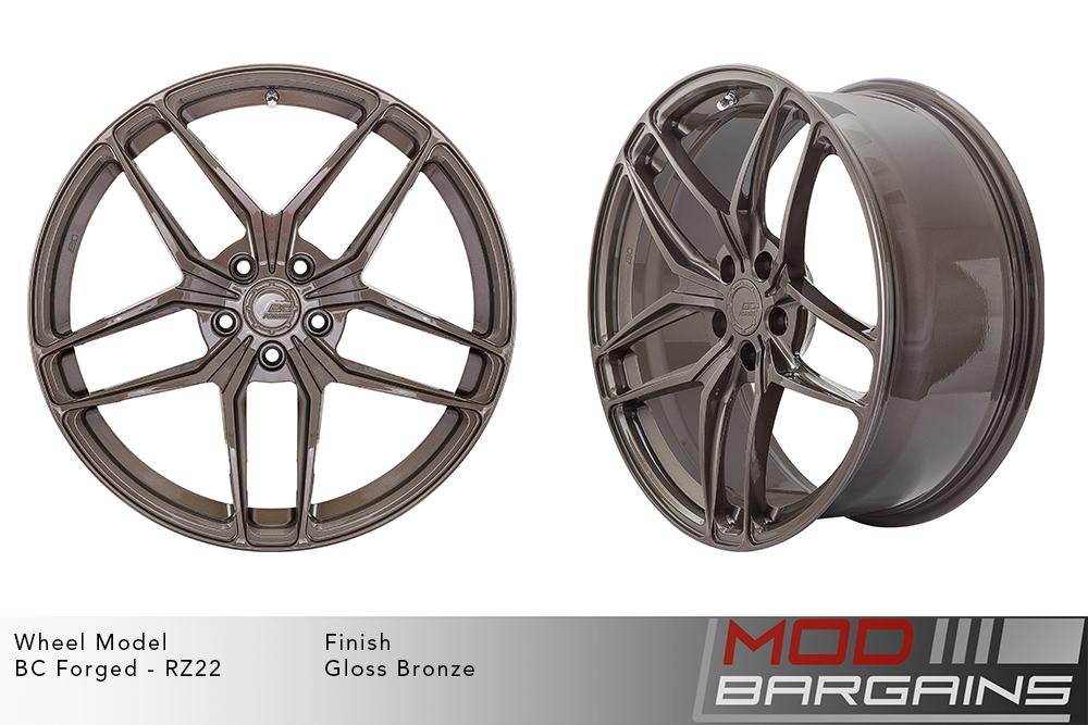 BC Forged RZ22 Monoblock Forged Aluminum Split 5 Spoke Concave Wheels Gloss Bronze Modbargains