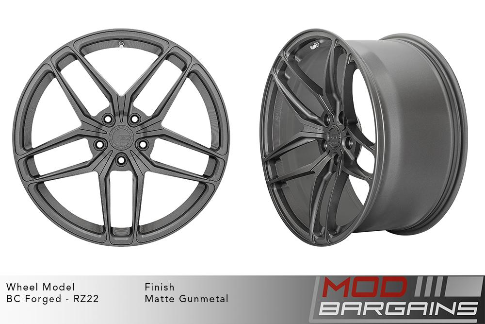 BC Forged RZ22 Monoblock Forged Aluminum Split 5 Spoke Concave Wheels Matte Gunmetal Modbargains