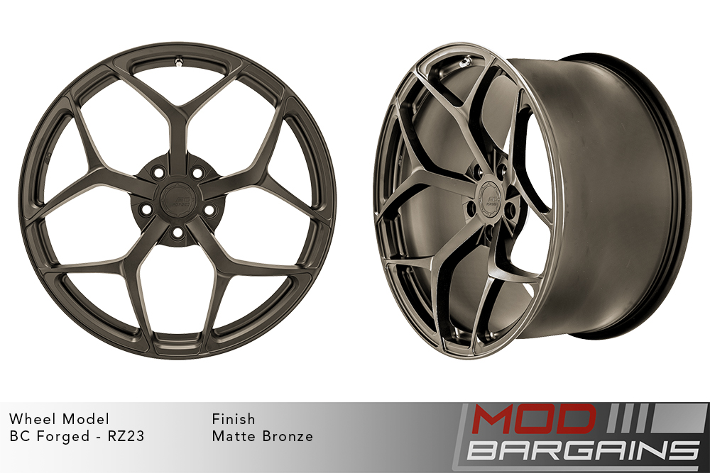 BC Forged RZ23 Monoblock Forged Aluminum Split 5 Spoke Concave Wheels Brushed Black Gunmetal Modbargains