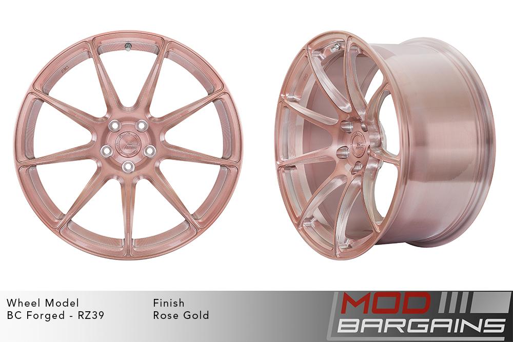 BC Forged RZ39 Monoblock Forged Aluminum 9 Spoke Concave Brushed Rose Gold Pink Wheels Modbargains