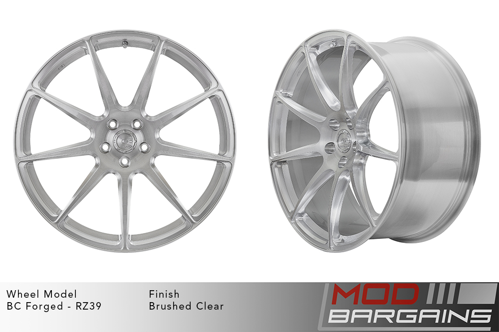BC Forged RZ39 Monoblock Forged Aluminum 9 Spoke Concave Wheels Brushed Clear Silver Modbargains