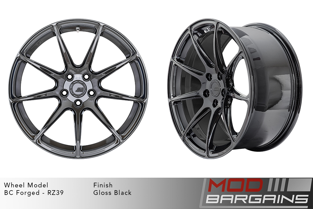 BC Forged RZ39 Monoblock Forged Aluminum 9 Spoke Concave Wheels Gloss Black Modbargains