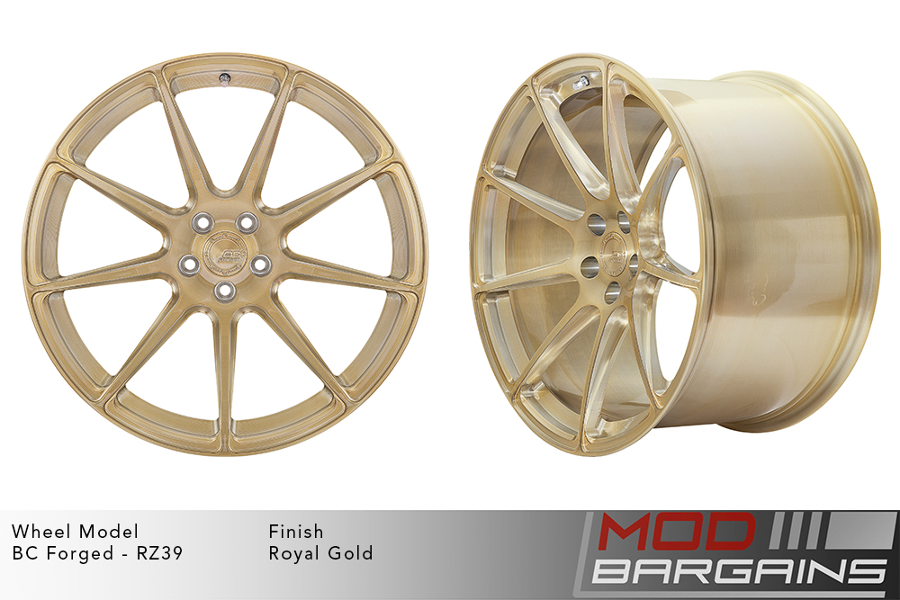 BC Forged RZ39 Monoblock Forged Aluminum 9 Spoke Concave Wheels Brushed Royal Gold Modbargains