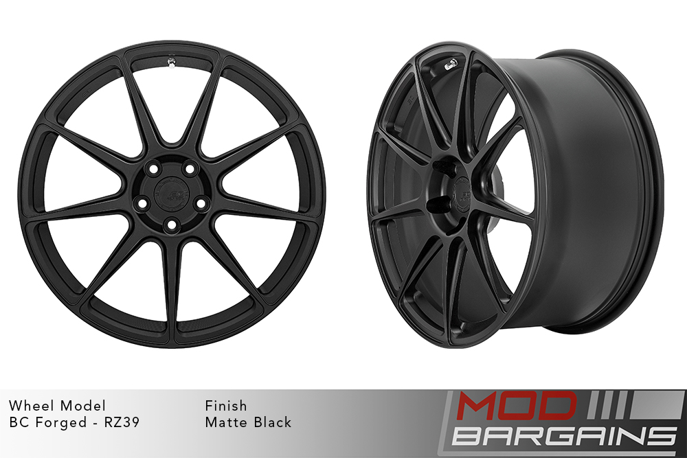BC Forged RZ39 Monoblock Forged Aluminum 9 Spoke Concave Wheels Matte Black Modbargains