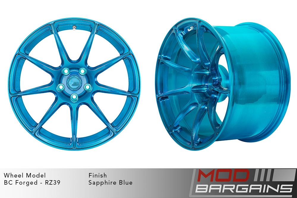 BC Forged RZ39 Monoblock Forged Aluminum 9 Spoke Concave Wheels Brushed Sapphire Blue Modbargains