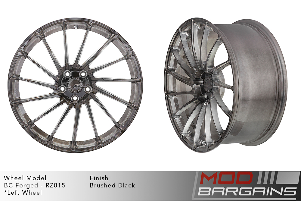 BC Forged RZ815 Monoblock Forged Aluminum directional 15 Spoke Concave Brushed Black Gunmetal Wheels Modbargains