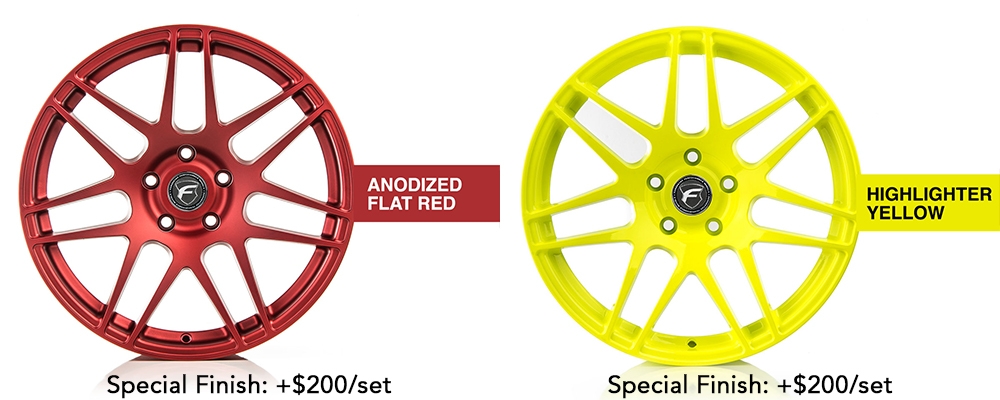 Forgestar Wheel Color Options Anodized Flat Red Highlighter Yellow Modbargains