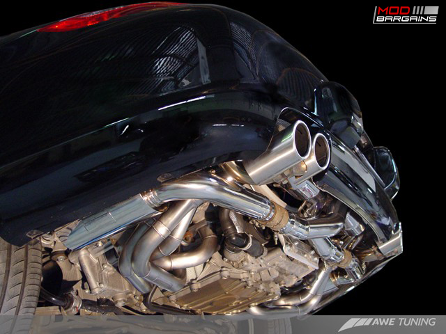 AWE Tuning Performance Exhaust Installed Side View on Porsche 997