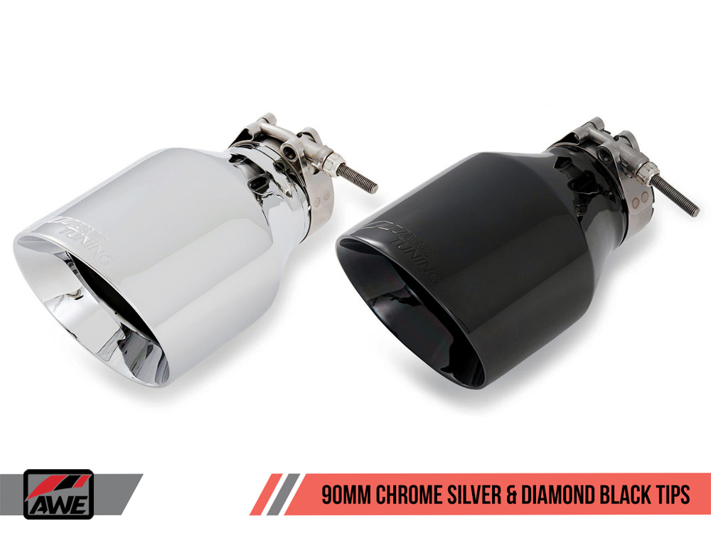 AWE Exhaust Tips 90mm Chrome Diamond Black Options