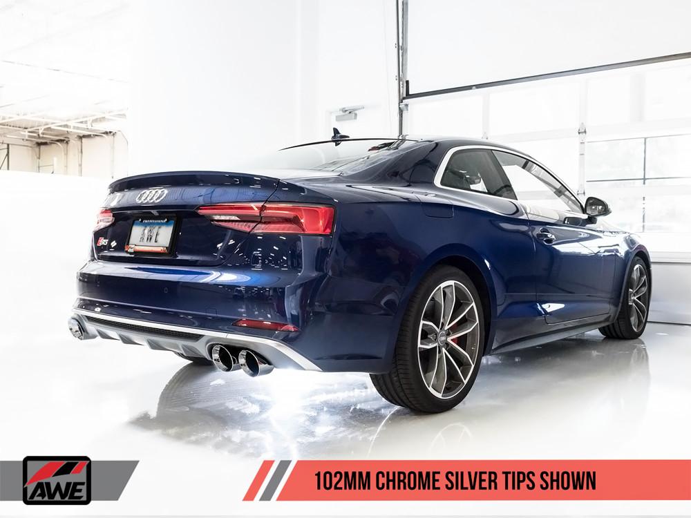 AWE Chrome Exhaust Tips 2017+ Audi B9 S5 V6 Turbo