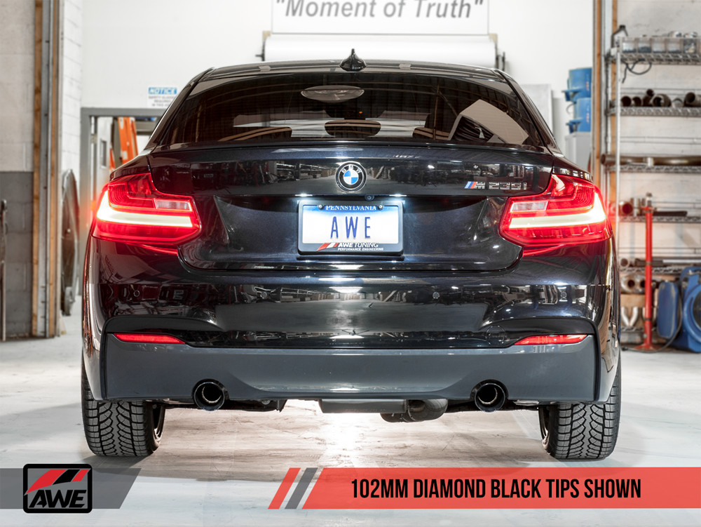 AWE F22 2-Series M235i M240i Tuning Exhaust Touring Edition Black 102mm Tips Installed