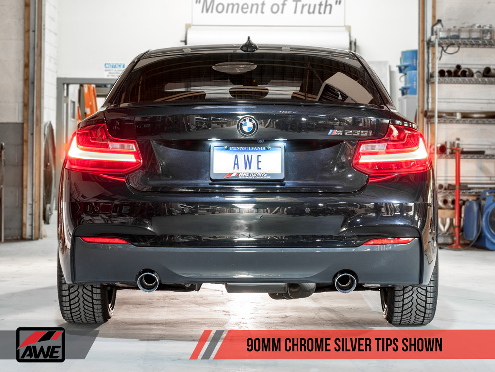 AWE F22 2-Series M235i M240i Tuning Exhaust Touring Edition 90mm Chrome Tips Installed
