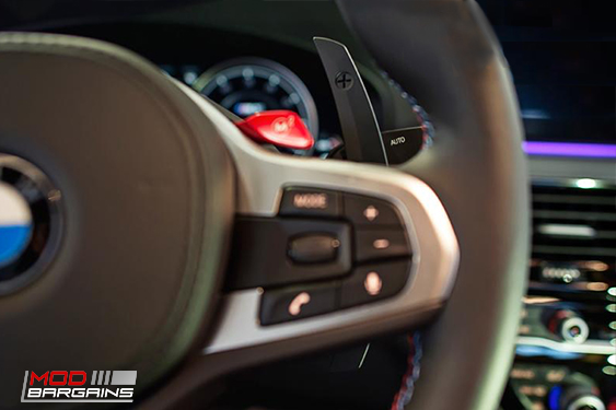 Competition steering shift paddles for G30 5-SERIES / G32 6-SERIES GT / F90 M5 vehicles. Autotecknic part number ATK-BM-0264-GB, Modbargains.