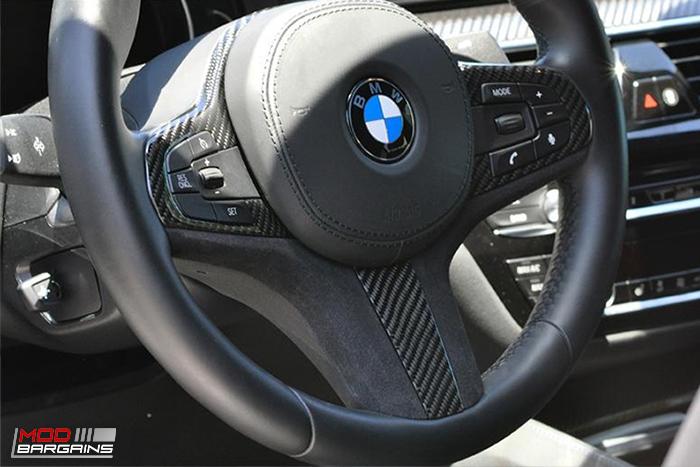 Autotecknic CARBON FIBER ALCANTARA Steering wheel trim g30 5series 6 series g32 bmw - modbargains.com