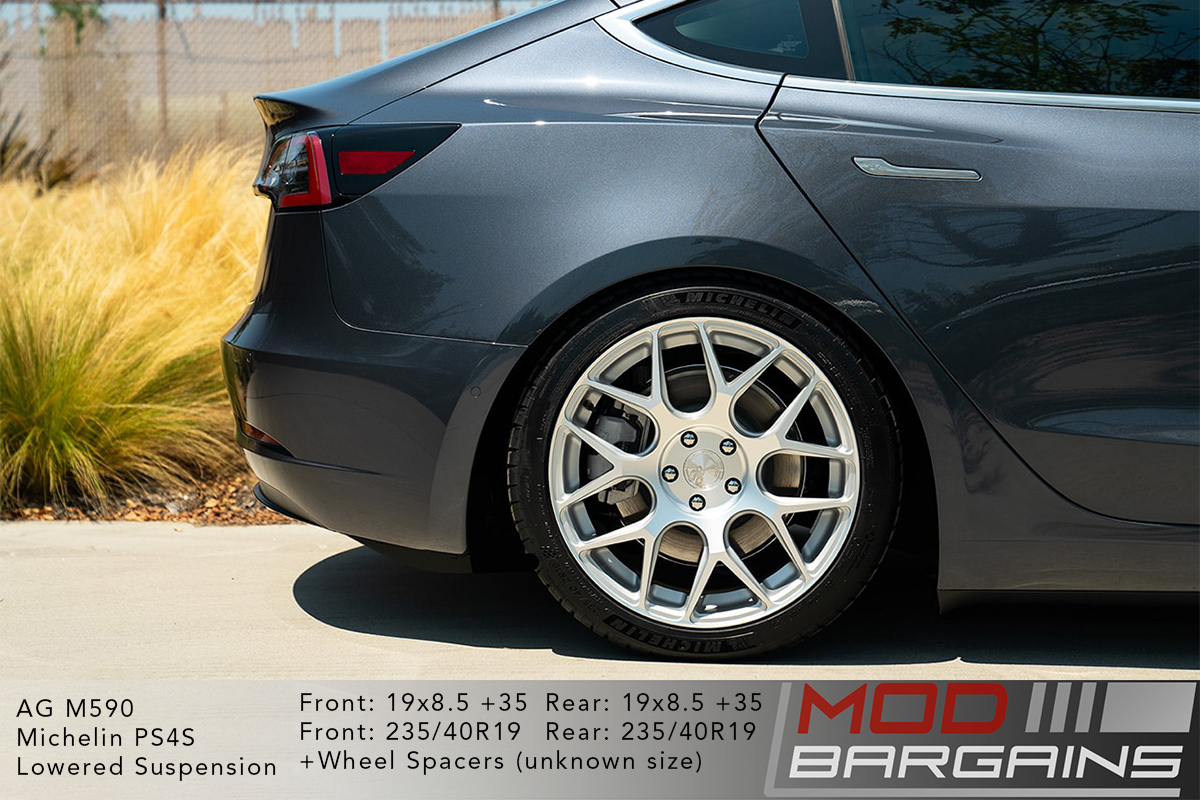 Grey Tesla Model 3 on Silver Avant Garde AG Wheels m590 20x8.5 front and 20x10 rear with Michelin PS4S Tires and lowered suspension