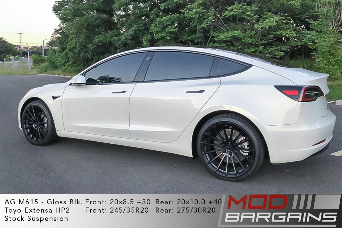 White Tesla Model 3 on Gloss Black Avant Garde AG M615 Wheels