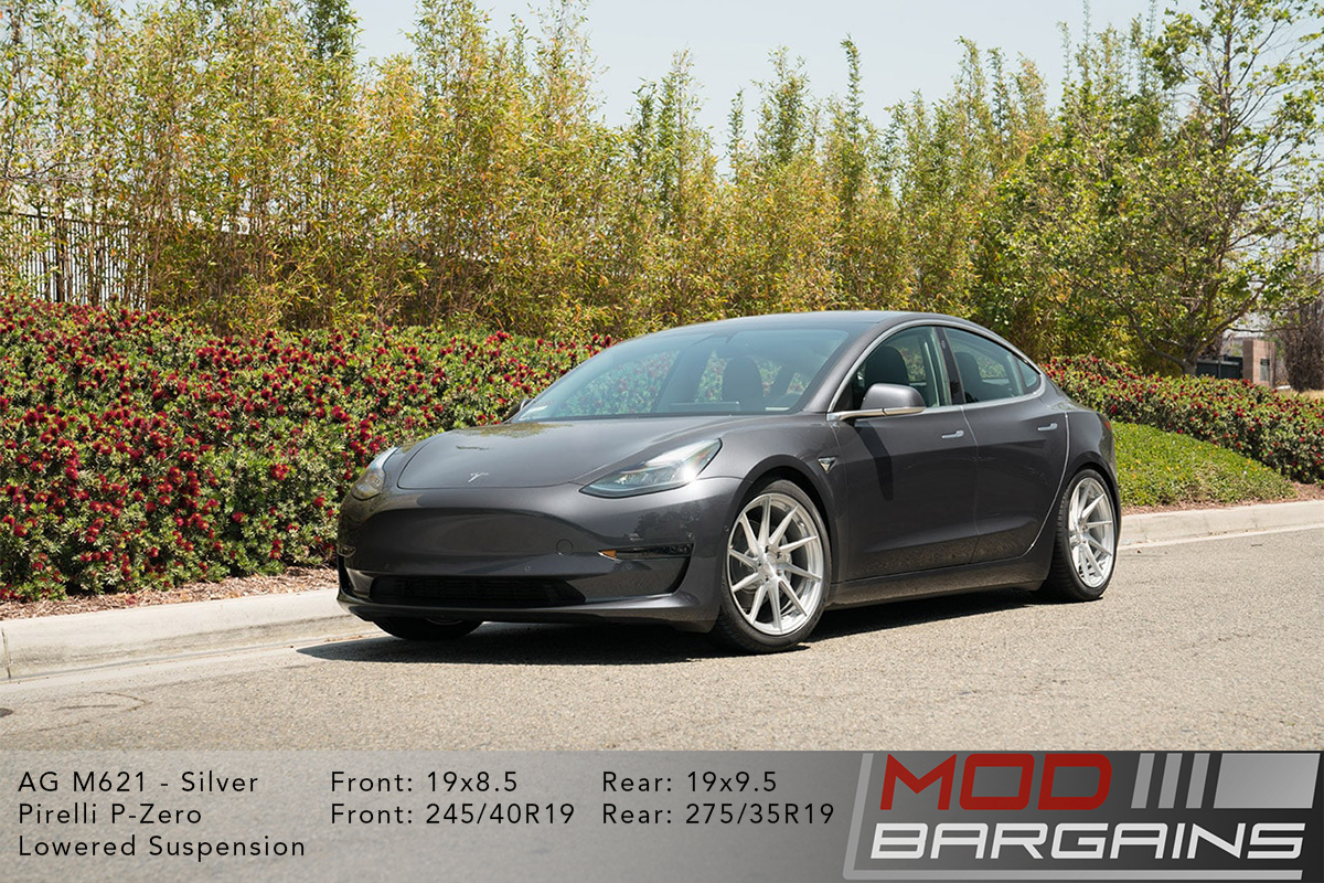 Grey Tesla Model 3 on Brushed Liquid Silver Avant Garde AG M621 Wheels Front