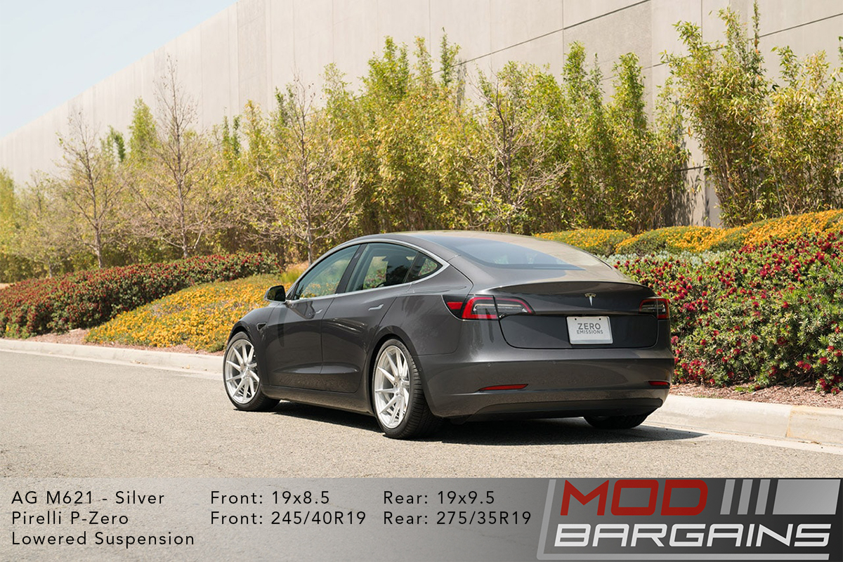 Grey Tesla Model 3 on Brushed Liquid Silver Avant Garde AG M621 Wheels Rear
