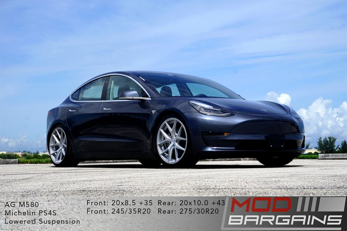 Grey Tesla Model 3 on Silver Avant Garde AG Wheels M580 20x8.5 front and 20x10 rear with Michelin PS4S Tires and lowered suspension