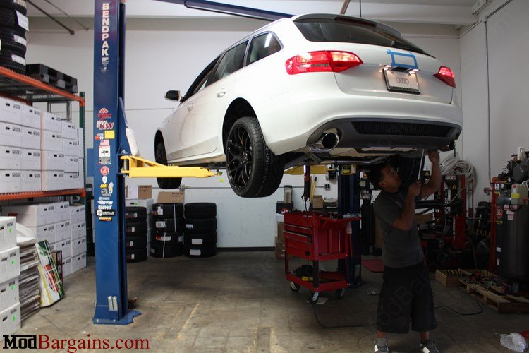 Billy Boat Cat-Back Exhaust Being Installed on Audi A4 B8 Avant Quattro