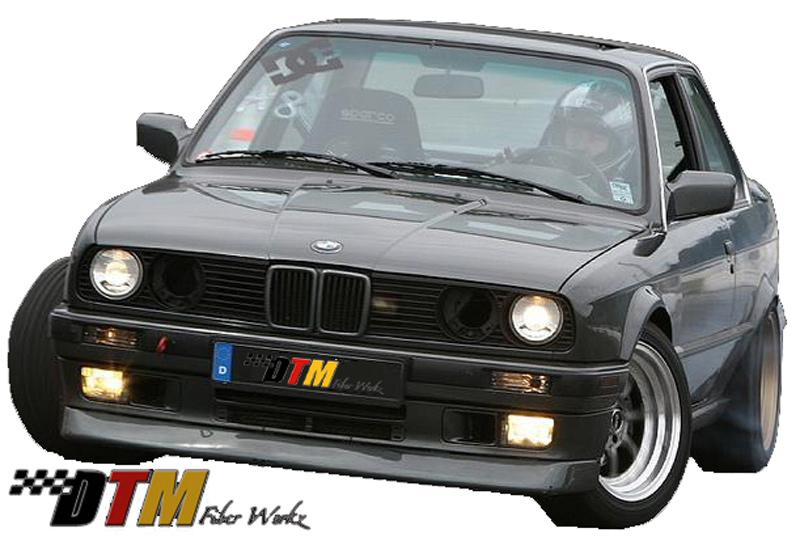 DTM Fiber Werkz BMW E30 DTM Style Front Lip Mounted View 1