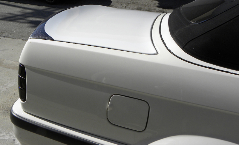 DTM Fiber Werkz BMW E30 CSL Style Trunk Lid in FRP with CF Inlay View 4