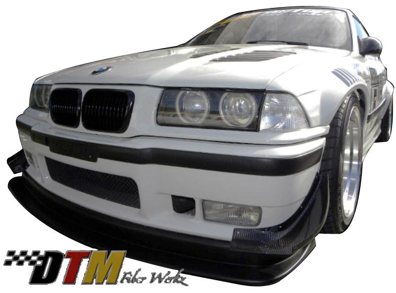 DTM Fiber Werkz BMW E36 Front Bumper Canards CFRP View 1